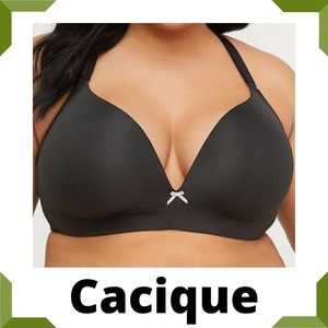 Cacique Simply Wire Free Uplift Plunge Bra 42 DD